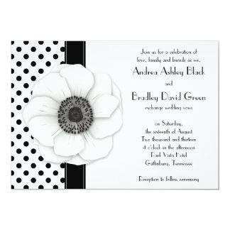 Anemone Flower Black White Polka Dot Wedding Card