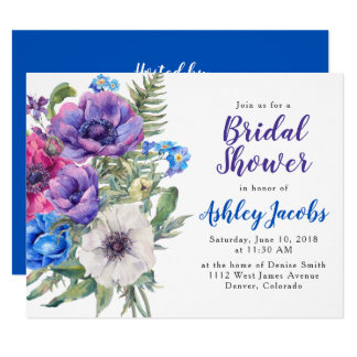 Anemone Flower Floral Bridal Shower Invitation