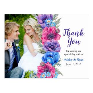 Anemone Flower Photo Wedding Thank You Postcard