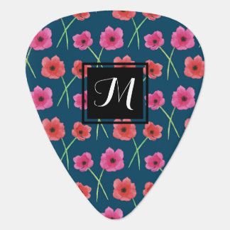 Anemone Flower Watercolor Painting Pattern Guitar Pick