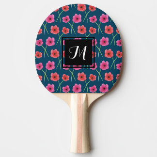 Anemone Flower Watercolor Painting Pattern Ping Pong Paddle