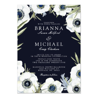 Anemone Midnight Floral Wedding Card