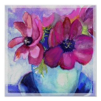 anemone pink and purple poster