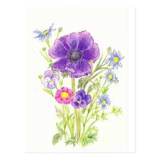 Anemone Purple Spring Flower Bouquet Postcard