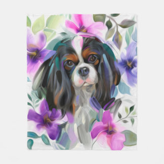 'Anemone' Tricolor cavalier fleece blanket MEDIUM