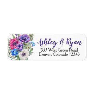 Anemone Wedding Address Labels Watercolor
