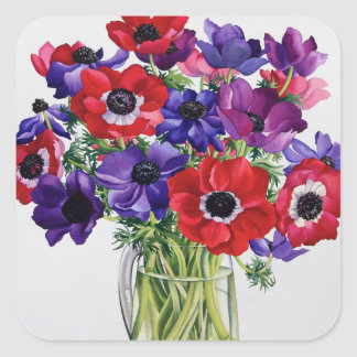 Anemones in a Glass Jug Square Sticker