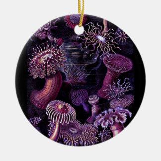 Anemones in Dark Purple Ceramic Ornament
