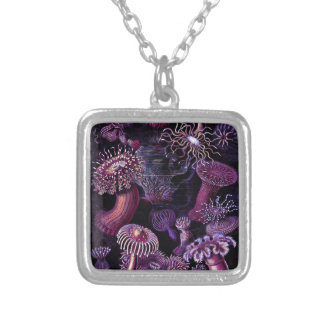 Anemones in Dark Purple Silver Plated Necklace