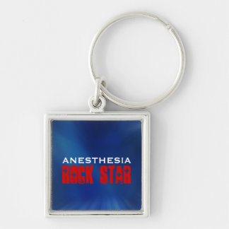 Anesthesia Rock Star Silver-Colored Square Key Ring