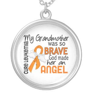 Angel 2 Grandmother Leukemia Round Pendant Necklace