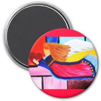 angel 7.5 cm round magnet