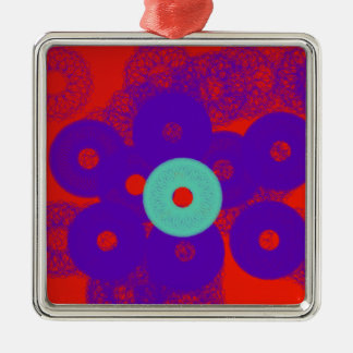 angel abstract art with red and blue so powerful Silver-Colored square decoration