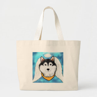 Angel Alaskan Malamute Large Tote Bag