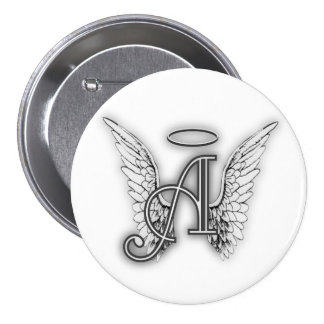 Angel Alphabet A Initial Latter Wings Halo 7.5 Cm Round Badge