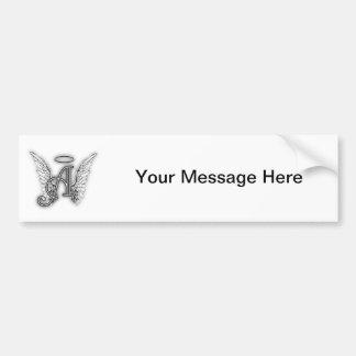 Angel Alphabet A Initial Latter Wings Halo Bumper Sticker