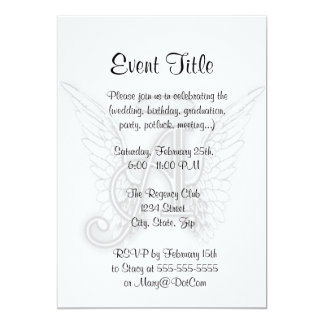 Angel Alphabet A Initial Latter Wings Halo Card