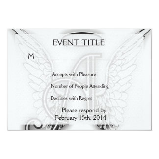 Angel Alphabet A Initial Latter Wings Halo Personalized Invite