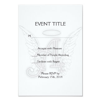 Angel Alphabet A Initial Latter Wings Halo 9 Cm X 13 Cm Invitation Card