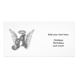 Angel Alphabet A Initial Latter Wings Halo Personalised Photo Card