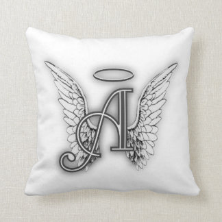 Angel Alphabet A Initial Latter Wings Halo Throw Pillow
