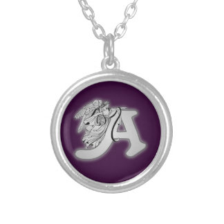 Angel Alphabet A Initial Monogram Round Pendant Necklace