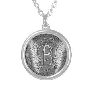 Angel Alphabet B Initial Latter Wings Halo Round Pendant Necklace