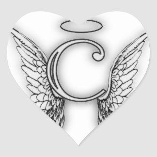 Angel Alphabet C Initial Latter Wings Halo Heart Stickers