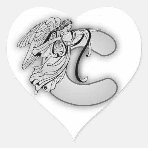 Angel Alphabet C Initial Monogram Heart Sticker