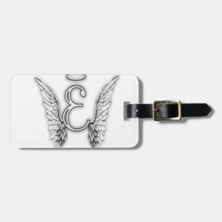 Angel Alphabet E Initial Latter Wings Halo Luggage Tag