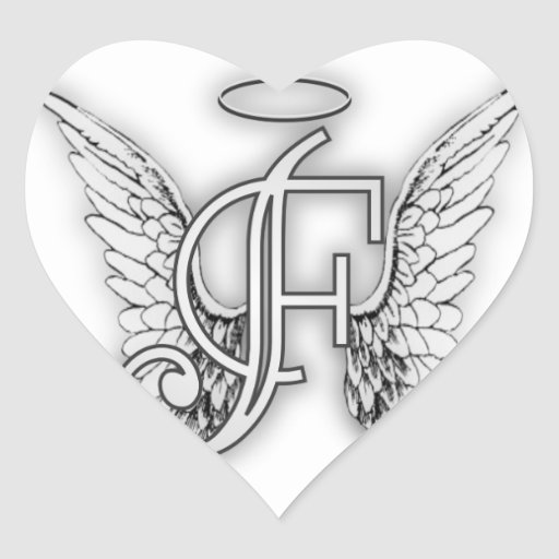 Angel Alphabet F Initial Latter Wings Halo Stickers