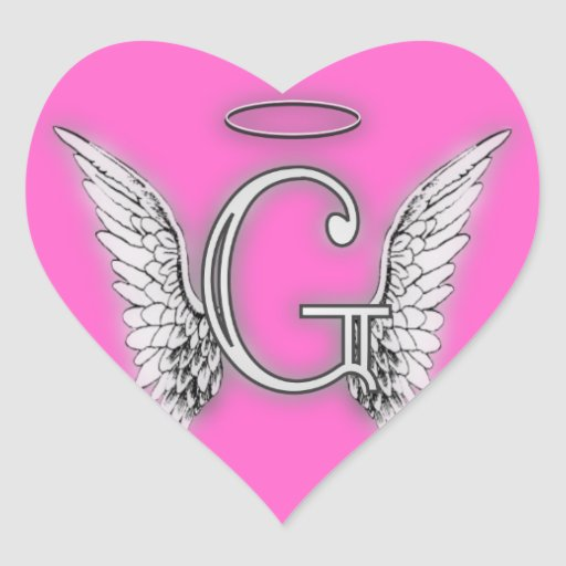 Angel Alphabet G Initial Latter Wings Halo Heart Stickers