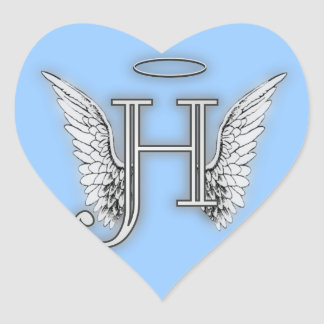 Angel Alphabet H Initial Latter Wings Halo Heart Sticker