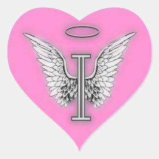 Angel Alphabet I Initial Latter Wings Halo Heart Sticker