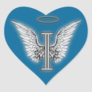 Angel Alphabet I Initial Latter Wings Halo Heart Stickers