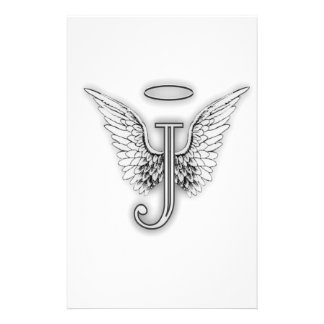 Angel Alphabet J Initial Letter Wings Halo Customised Stationery