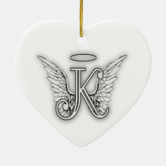 Angel Alphabet K Initial Letter Wings Halo Ceramic Ornament