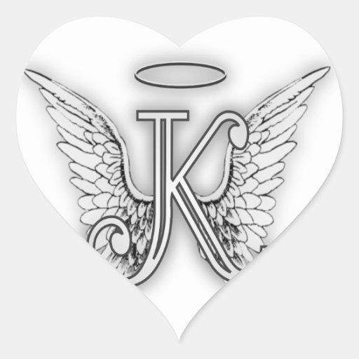 Angel Alphabet K Initial Letter Wings Halo Heart Stickers