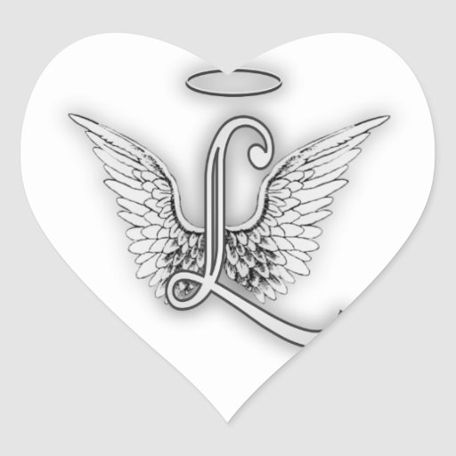 Angel Alphabet L Initial Letter Wings Halo Sticker