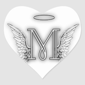 Angel Alphabet M Initial Letter Wings Halo Heart Sticker