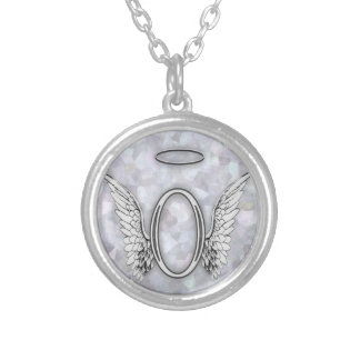 Angel Alphabet O Initial Letter Wings Halo Custom Necklace