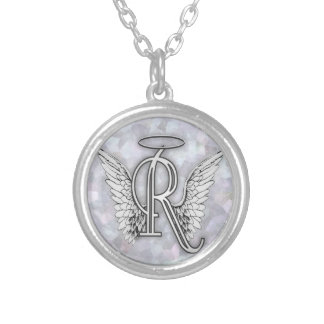 Angel Alphabet R Initial Letter Wings Halo Custom Necklace