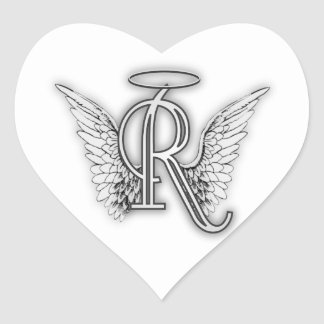 Angel Alphabet R Initial Letter Wings Halo Heart Stickers