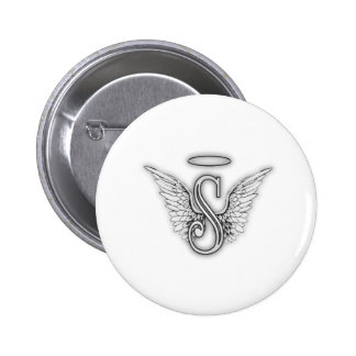 Angel Alphabet S Initial Letter Wings Halo 6 Cm Round Badge