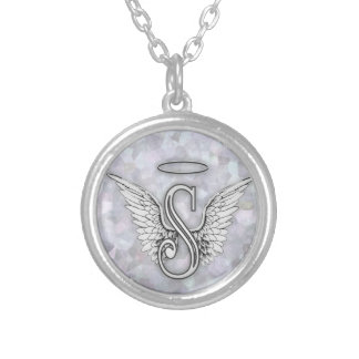 Angel Alphabet S Initial Letter Wings Halo Round Pendant Necklace