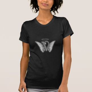 Angel Alphabet V Initial Letter Wings Halo T-Shirt