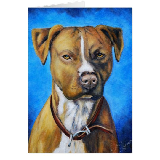 Angel American Staffordshire Terrier Dog Art Card