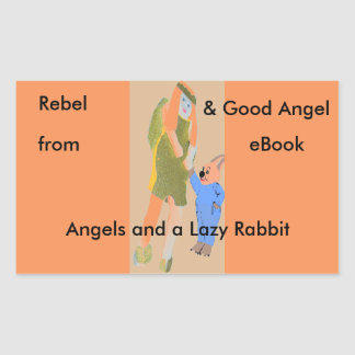 angel and a little rabbit from eBooks Rectangular Sticker