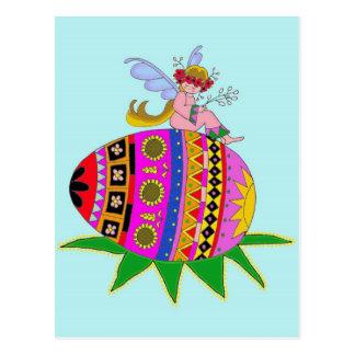 Angel and a Pysanka, Ukrainian Folk Art Postcard