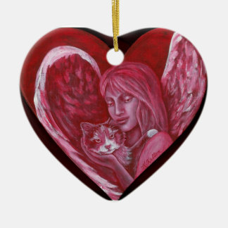 Angel and Calico Cat Heart Christmas Ornament